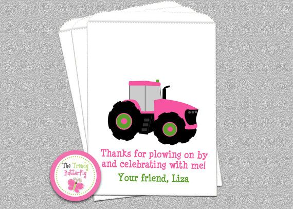 Pink Tractor Party Favor Bags Cookie Bag  by The Trendy Butterfly #pinktractor #tractor #cookiebag #favorbag