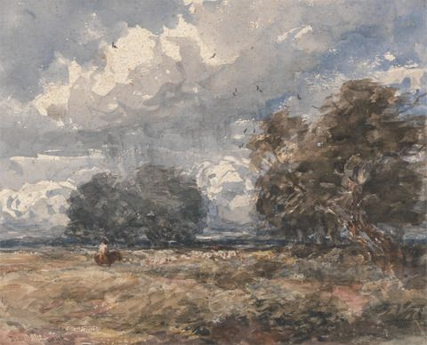 David Cox, 1783–1859, British, Shepherding the Flock, Windy Day, 1848, Watercolor and graphite on thick, rough, wove Scotch paper, Yale Center for British Art, Paul Mellon Collection