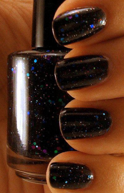 Black Creme Nail Polish with Glitter - Stargazing - Mini. $4.75, via Etsy.