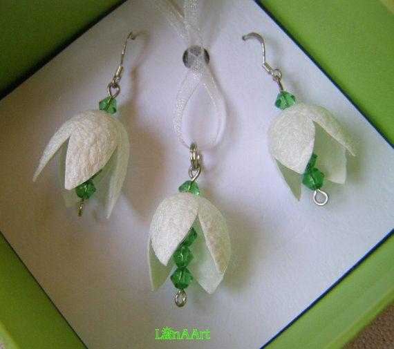 WHITE SNOWDROPS Silk Flowers silver earrings & pendant by LanAArt