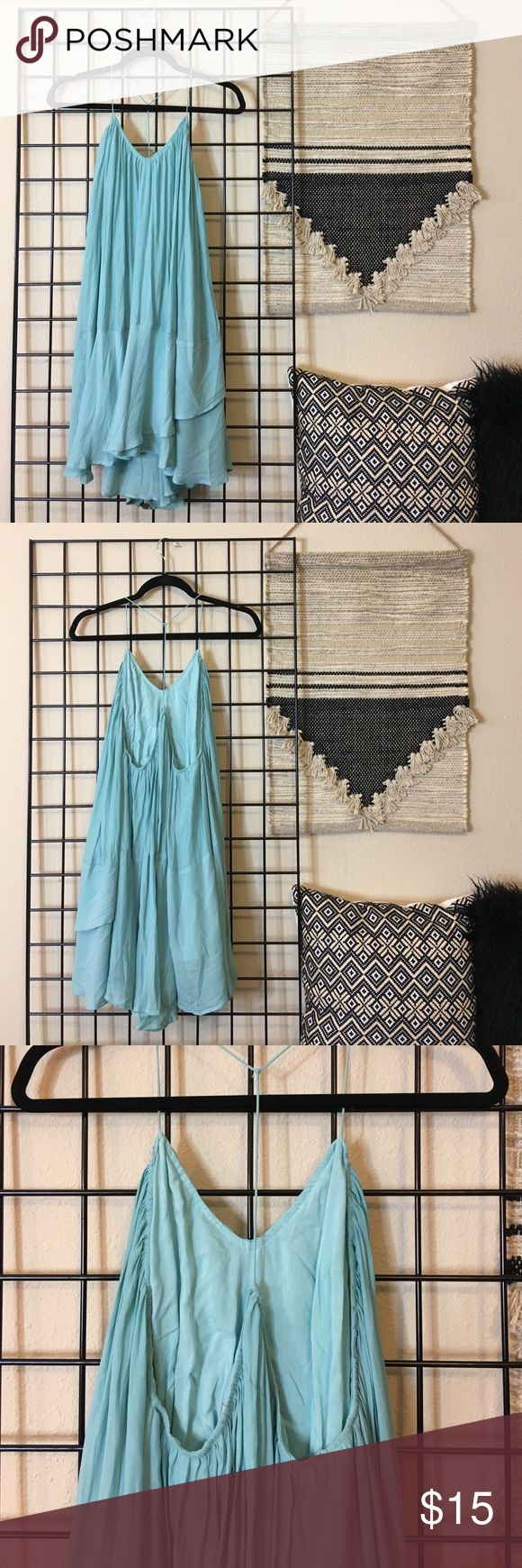 "Loose Blue Strappy Dress Great for mommy to be's! Very loose and flowing Dress. Robin's egg blue. A little on the long side- best for girls 5'4""+. Forever 21 Dresses Backless"