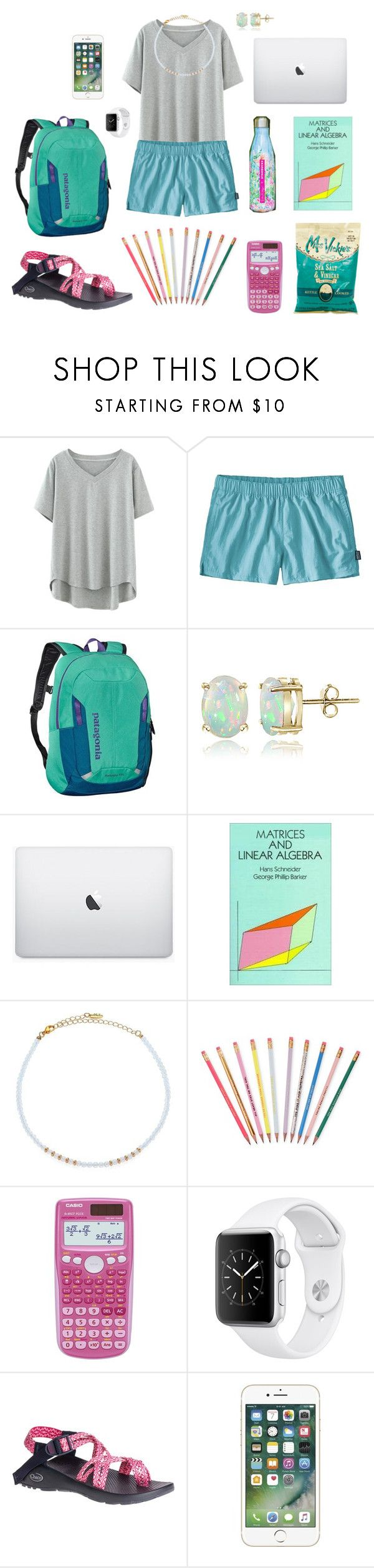 """""""Library Sesh"""" by walzfashion ❤ liked on Polyvore featuring Patagonia, Patagonia Kids, Glitzy Rocks, Barker, Ettika, ban.do, Apple and Chaco"""