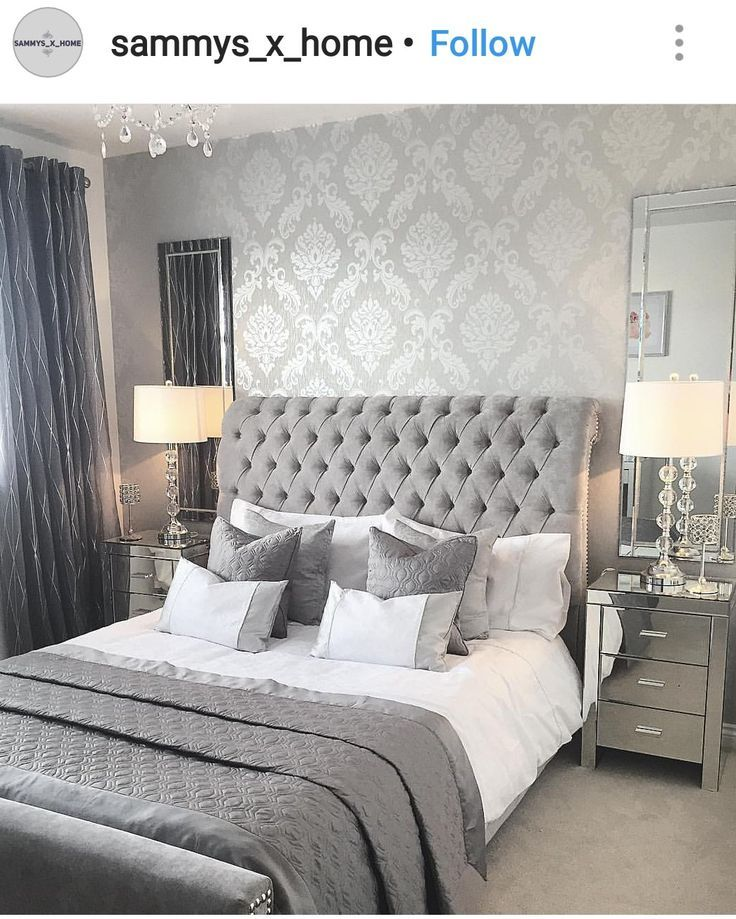 Love The Bedside Tables And Lamps Whitefurniturediybedrooms Simple Bedroom Design Silver Bedroom Luxurious Bedrooms