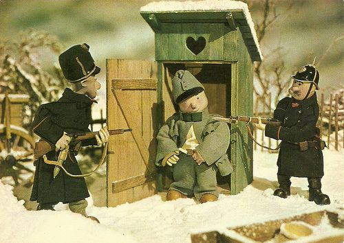 Dobry vojek Svejk (The Good Soldier Svejk). Czechoslovakian postcard. From the puppet animation film Dobry vojak Svejk (The Good Soldier Svejk, Jirî Trnka 1955), based on Jaroslav Hasek's famous novel.