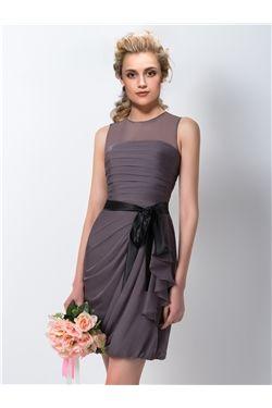 Sashes/Ribbons Brown All Sizes Sleeveless Natural Knee-Length Wedding Party Sheath/Column Dress