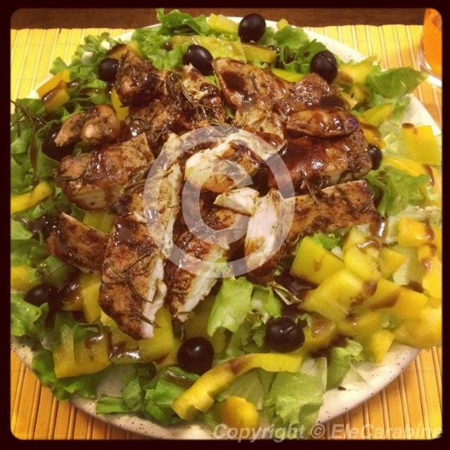 chicken salad with cumin, rosemary, balsamic vinegar