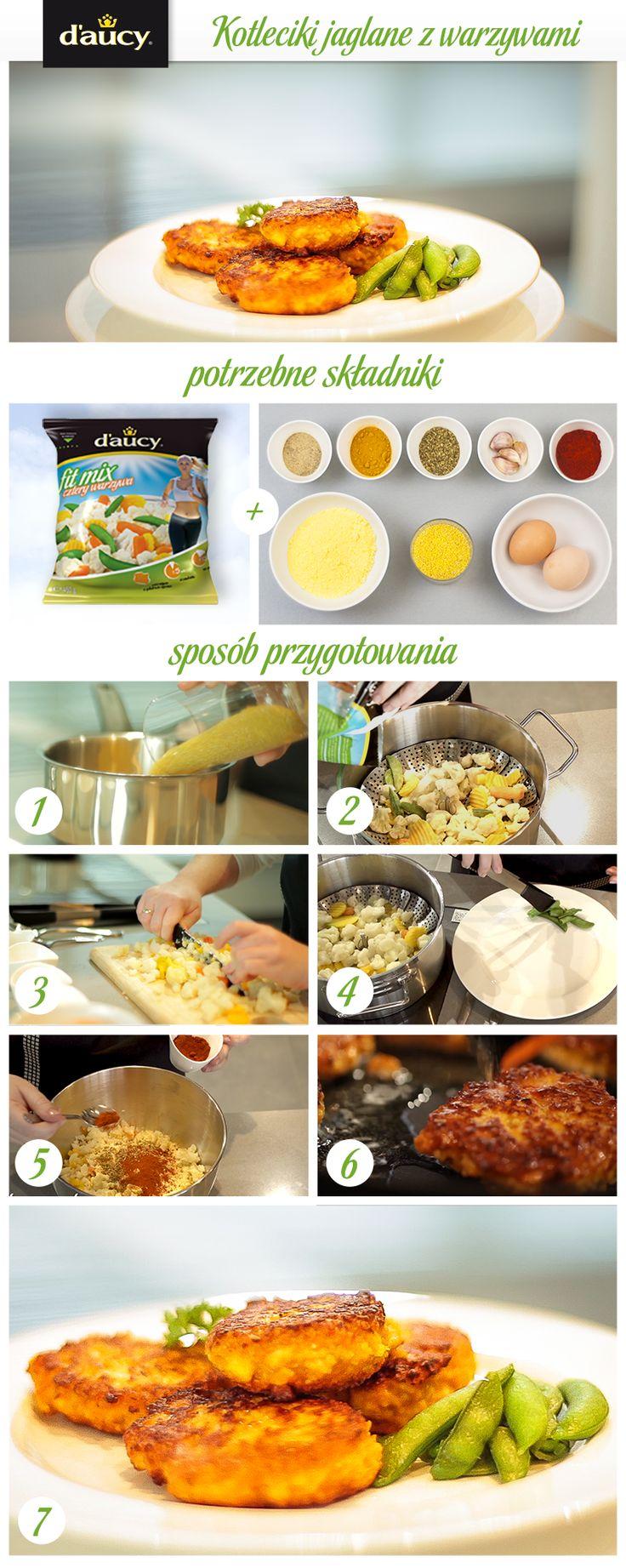 Kotleciki z kaszy jaglanej z warzywami przyrządzonymi na parze.  http://www.daucyinspiruje.pl/przepis/kotleciki-jaglane-z-warzywami/