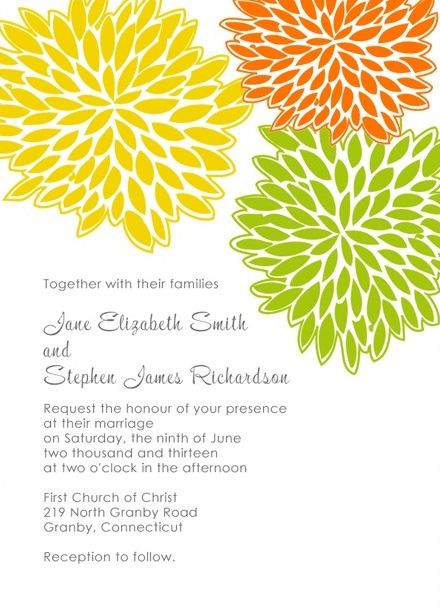 Spring Wedding Invitation Template With Lively Petal Burst Design.  Free Invitation Templates