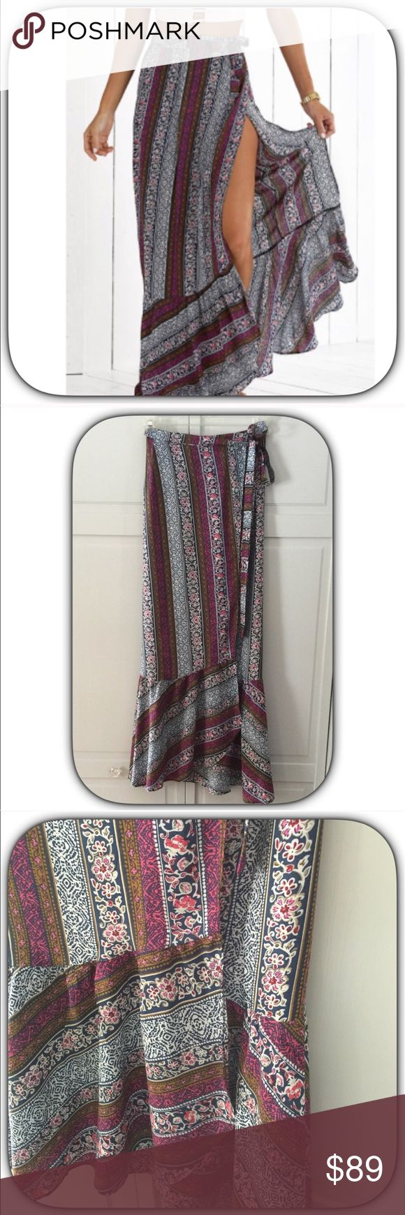 NWT Purple Boho Floral 60's Vibe Wrap Maxi Skirt JUST IN! Bring back those barefoot memories! This has a nice mix of purples, brown and white! It definitely has a 60's vibe to it! I love this skirt so much I had to buy one for myself! It also has a ruffle on the bottom to add some flare!                        Medium Length 41                                                         Large Length 42                                                                Waist Adjustable Boutique Skirts…