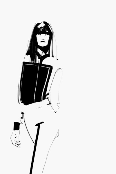 Fashion Sketch of Christopher Kane FW14 outfit; black & white fashion illustration // Kathy Murysina