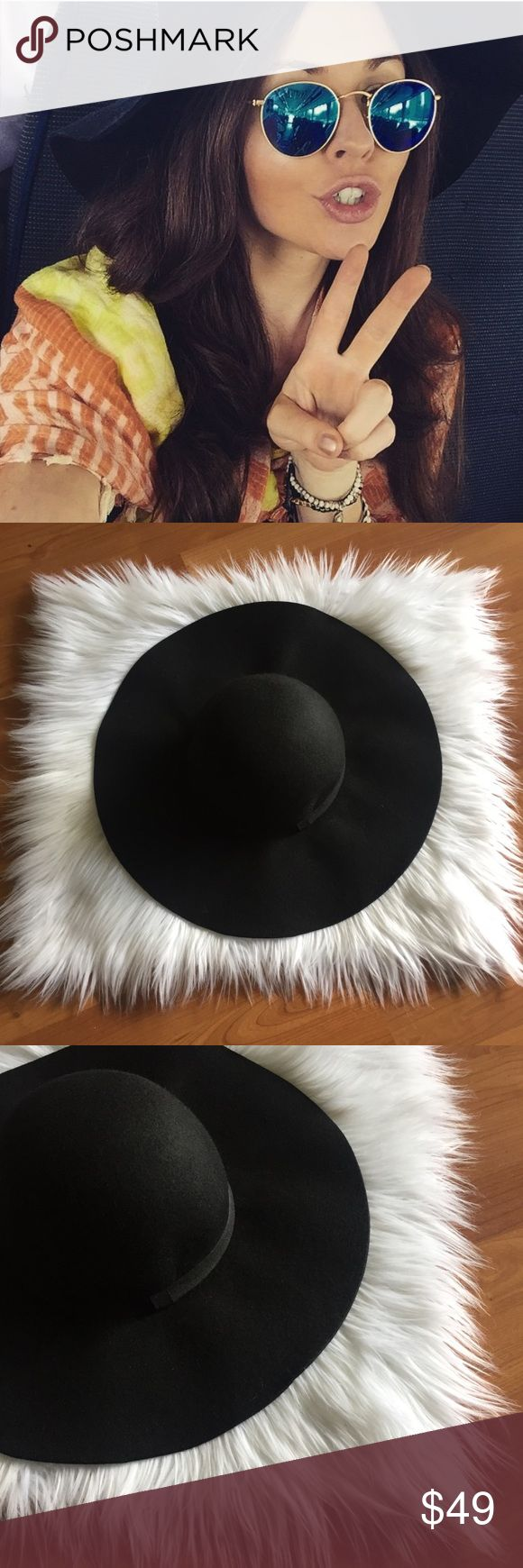 Luxury Black Floppy Hat Black Floppy Hat. 100% Wool. No trades. I have lots of different black floppy hats in my closet. Anthropologie Accessories Hats