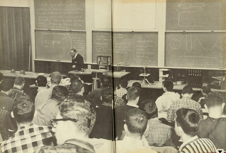 What looks like an electrical engineering class from 1960