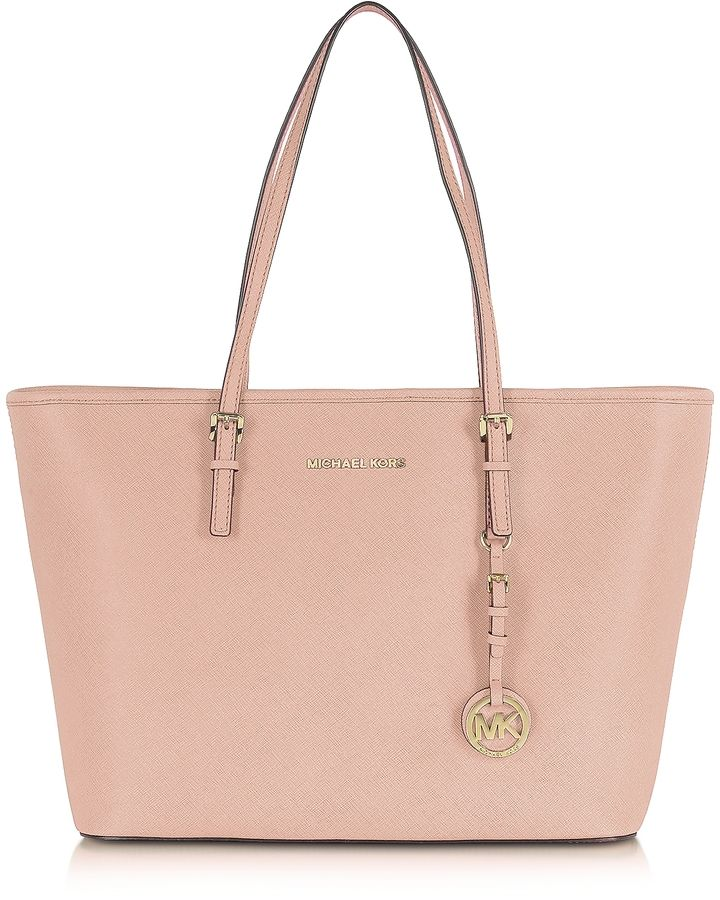 Michael Kors Jet Set Travel Soft Pink Saffiano Leather Top Zip Tote
