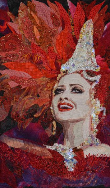 <b>Showgirl ©2014</b><br/> 1st Prize winner for Berry's One Red Thread theme Moulin Rouge 2014, Judges Choice, Dubai International Quilt Festival 2016