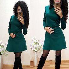 2017 Весна Осень Мода Повседневная Dress для Женщин Твердые Завышенной Талией Тонкий О-Образным Вырезом С Длинным Рукавом Сексуальные Мини-Платья A-Line Vestidos(China (Mainland))