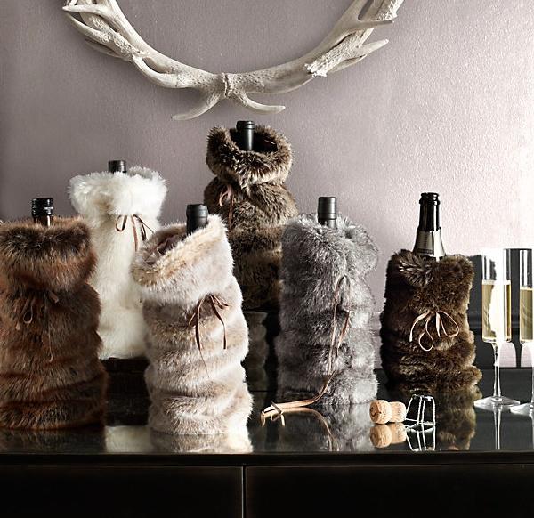 Fur wine bags, great gift!