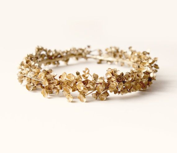 Golden baby's breath halo Gold flower crown Unique by whichgoose