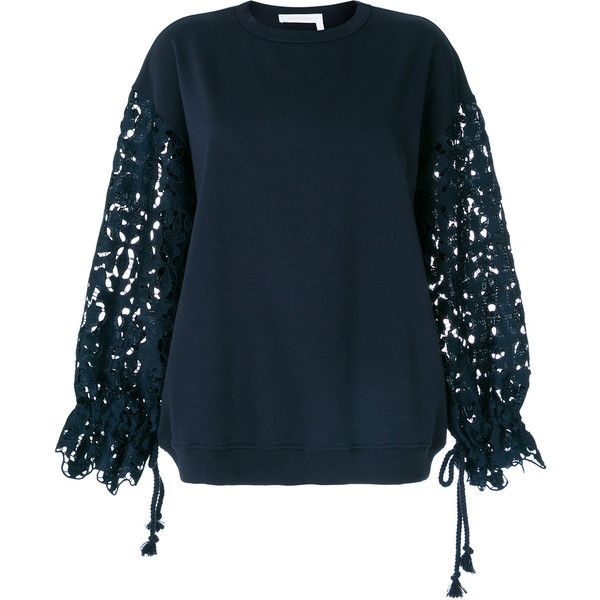 b7fea079 See By Chloé lace sleeve oversized sweatshirt ($310) ❤ liked on ...