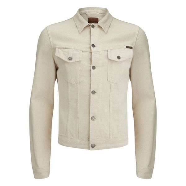 Nudie Jeans Men's Billy Denim Jacket - Ecru ($165) ❤ liked on Polyvore featuring men's fashion, men's clothing, men's outerwear, men's jackets, white, mens denim jacket, mens jackets, mens white jacket, mens jean jacket and mens white denim jacket