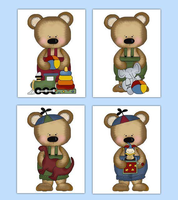 Teddy Bear Wall Art Prints or Decals Boy Woodland Forest Animal Nursery Stickers #decampstudios