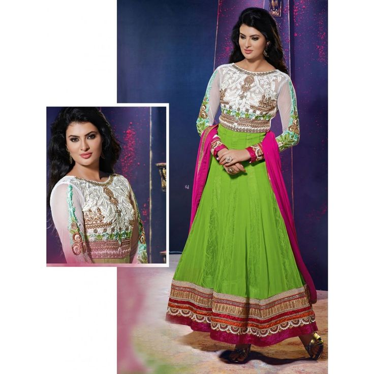 Green and White Georgette Bridal #Anarkali Suits- $46.10