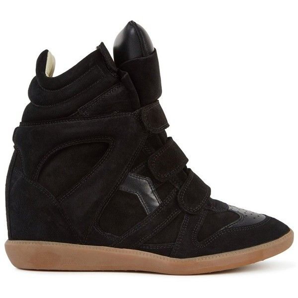 Isabel Marant Bekett Black Suede Wedge Trainers - Size 8 (£395) ❤ liked on Polyvore featuring shoes, sneakers, black quilted sneakers, black hidden wedge sneakers, quilted sneakers, black wedge sneakers and black velcro shoes