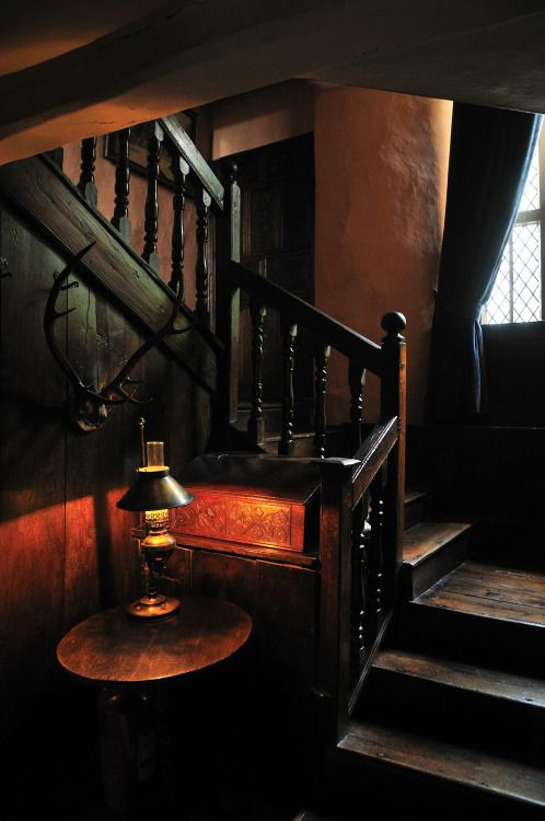 Staircase, Townend.  A 400 year old cottage nestled in Troutbeck and owned by the National Trust.  Lake District Cumbria, England   July 2015
