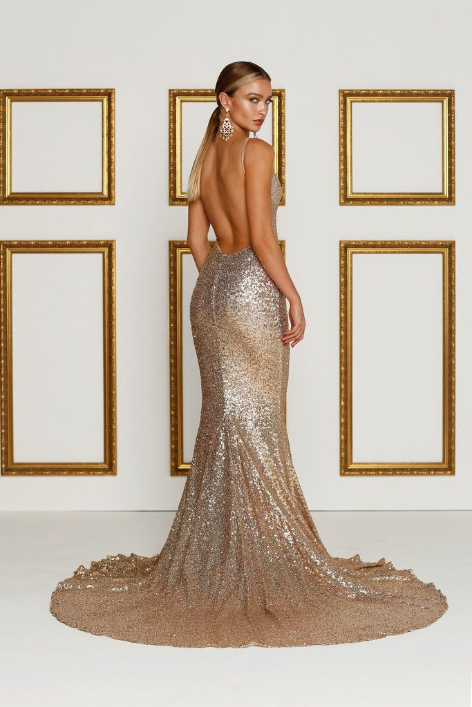 Alamour The Label - Yassmine Luxe Gown - Rose Gold [Pre Order]
