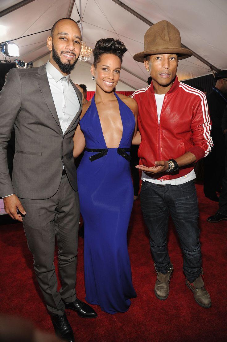 Swizz Beatz, Alicia Keys, and Pharrell Williams at the 2014 Grammy Awards.
