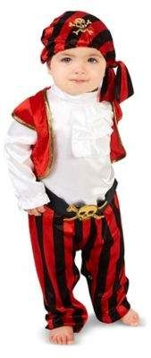 Pirate Captain Size 12-18M Infant Halloween Costume in Red Multi