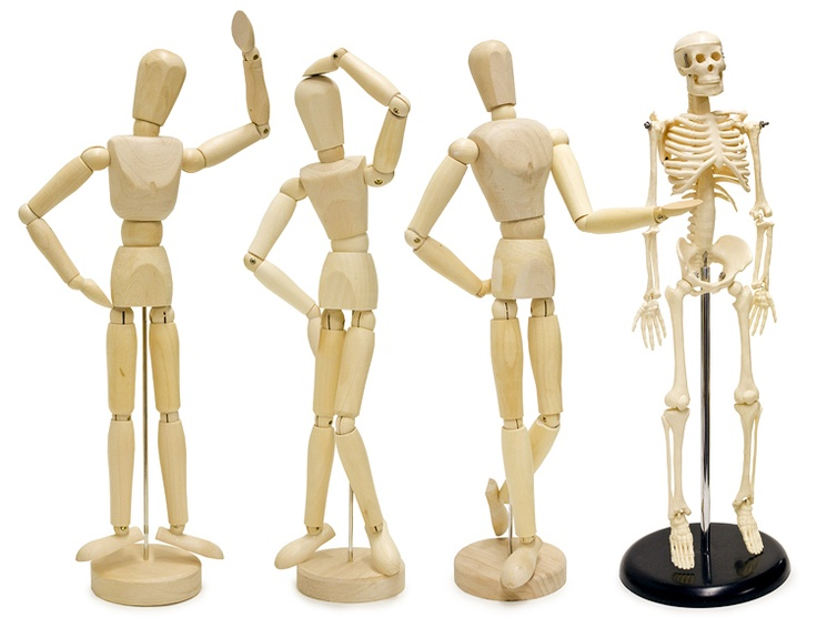 Poseable Mannequins & Skeletons. A useful reference tool & hilarious desk accessory in one! #mannequin #manikin #skeleton #artsupplies