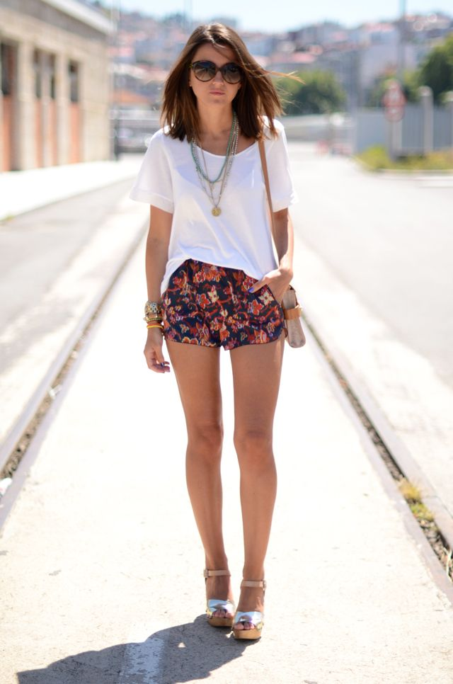 Printed shorts and white top