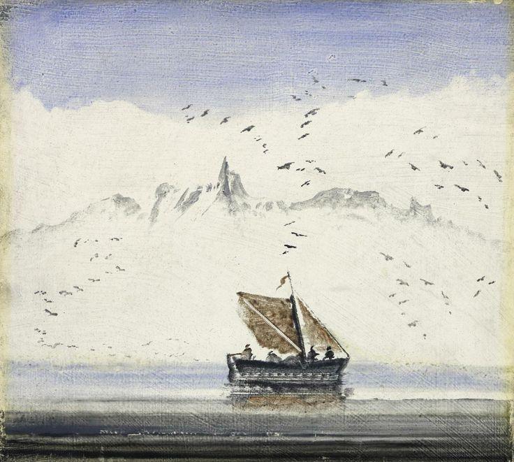 Peder Balke (1804-1887), Norwegian coastal landscape with a sailing boat (ca. 1870)