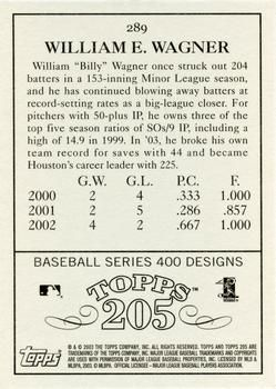 2003 Topps 205 #289 Billy Wagner Back