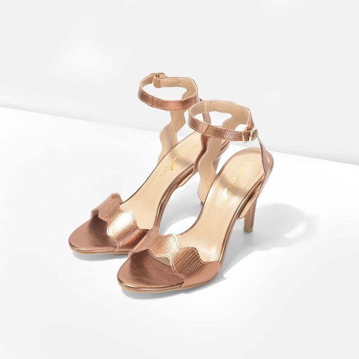 Teresa Bronze Scalloped Heels, Scalloped Strappy Heels, Bronze Scallop Nudist…