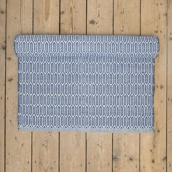 Scandinavian patterned blue floor runner & rug by Skandihome