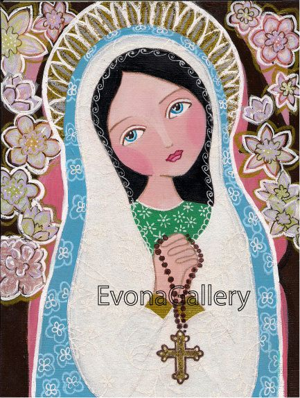 Rossary Madonna , Print  Of Original Art ,Mix Media, Folk Art, Wall Decore by Evona