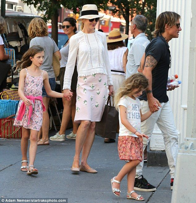 Family outing: Nicole Kidman, 49, and Keith Urban, 48, took daughters Sunday Rose, eight, ...