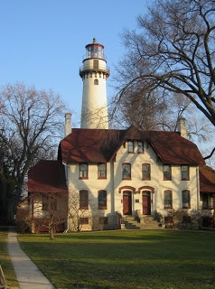 Grosse Point Lighthouse - Lake Michigan - Built in 1873 after several maritime disasters. The 113 ft. tower is one of the tallest on the lakes and the 2nd order Fresnel Lens is the most powerful on the US side of The Great Lakes & is still in operation. Located on the northern edge of Northwestern University campus next to a small beachfront park in Evanston, Illinois