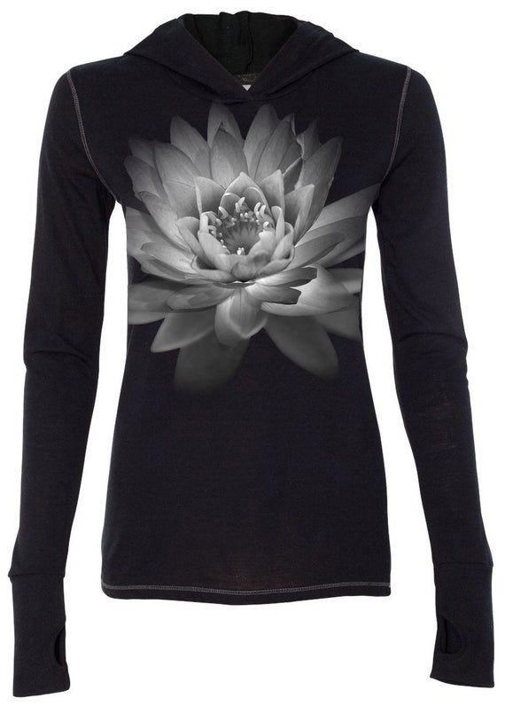 Ladies Lotus Flower Tri-Blend Yoga Hoodie Tee Shirt – W3101-LOTFLWR