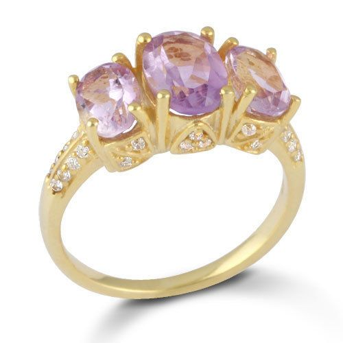 Solid 925 Sterling Silver Jewelry Natural Amethyst Gemstone Ring Vermeil SZ 6 #Rinnga