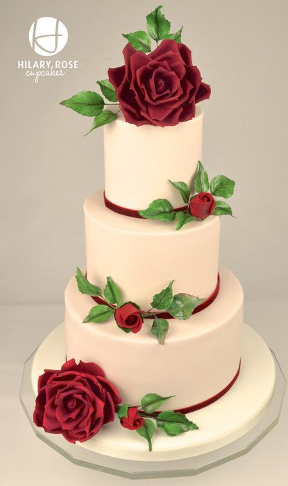 Red garden rose wedding cake - by Hilary Rose Cupcakes @ CakesDecor.com - cake decorating website - Not a Disney cake...but too pretty not to share.  Plus it would be perfect for a Disney wedding (think of all the gorgeous rose gardens at Disney World).
