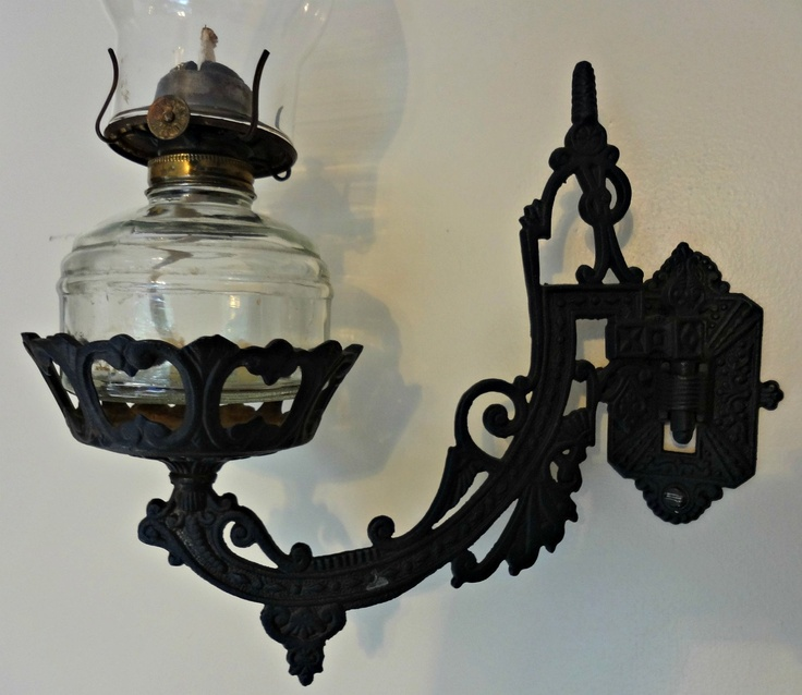 Vintage Wilton Cast Iron Oil Lamp Wall Bracket, Wall Hanging Lamps, Vintage and Oil lamps