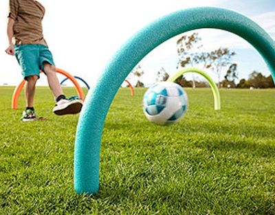Pool noodles + Soccer Ball = REALLY fun game AND GREAT soccer drills!