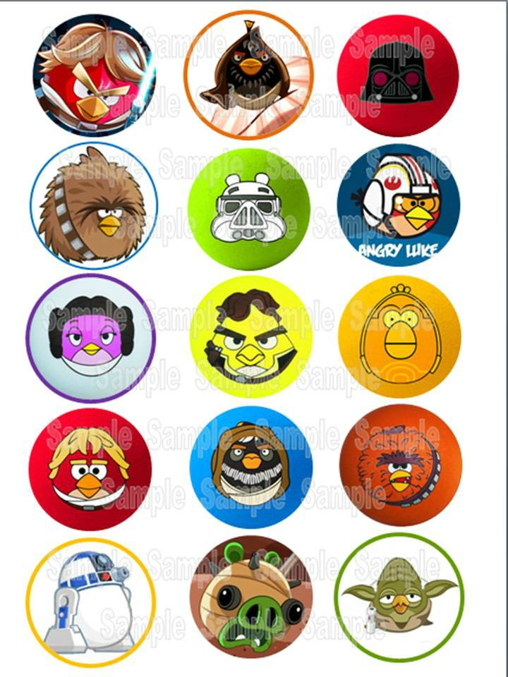 Angry Birds Star Wars - Cupcake/Cookie Edible Printed Toppers 15 x 2 inch circles. $7.25, via Etsy.