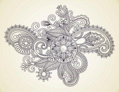 RÄ™cznie rysowane Abstract Kwiaty Mendie Henna Doodle Design Element Ilustracja Zdjęcie Seryjne - 11189149