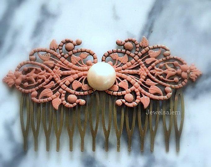 Coral rosa boda pelo peine nupcial diapositiva de pelo casco perla marfil blanco de Dama de honor regalo elegante Shabby Chic bosque romántico