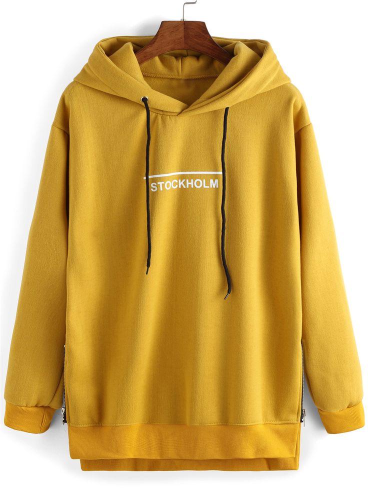 Sweat-shirt à capuche décontracté imprimé lettres -jaune 16.32