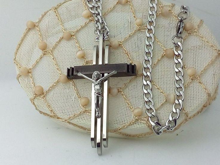 Collana Ciondolo Argento Croce Crocifisso con cristo Uomo Donna Gioielli Unisex
