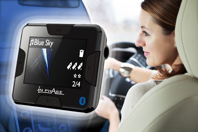 Transmits music & calls from your phone through car speakers.